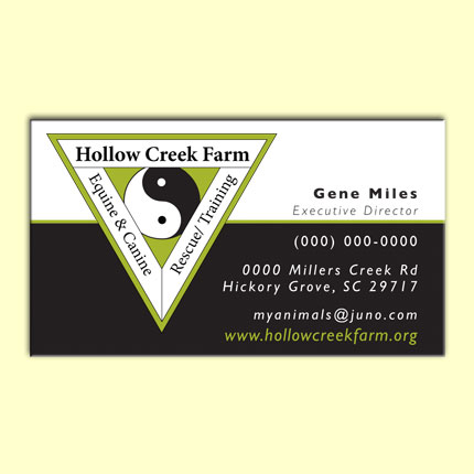 Hollow Creek Farms Business Card and Logo